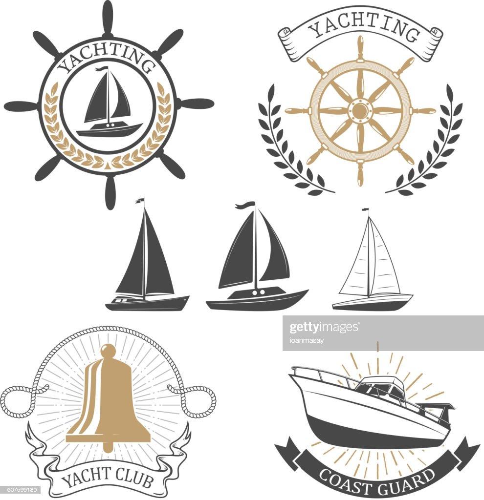 Yachting club labels. Yacht club. Nautical emblems.
