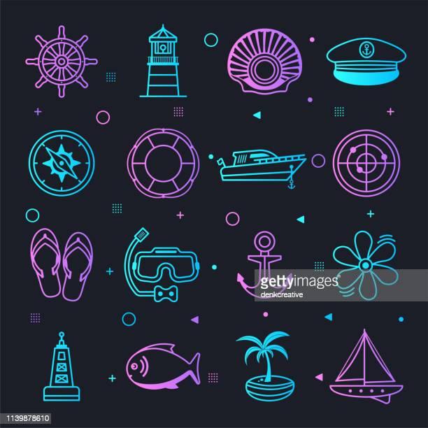 ヨット & 航海観光星座線グラデーションベクトルアイコンセット - nautical vessel点のイラスト素材/クリップアート素材/マンガ素材/アイコン素材