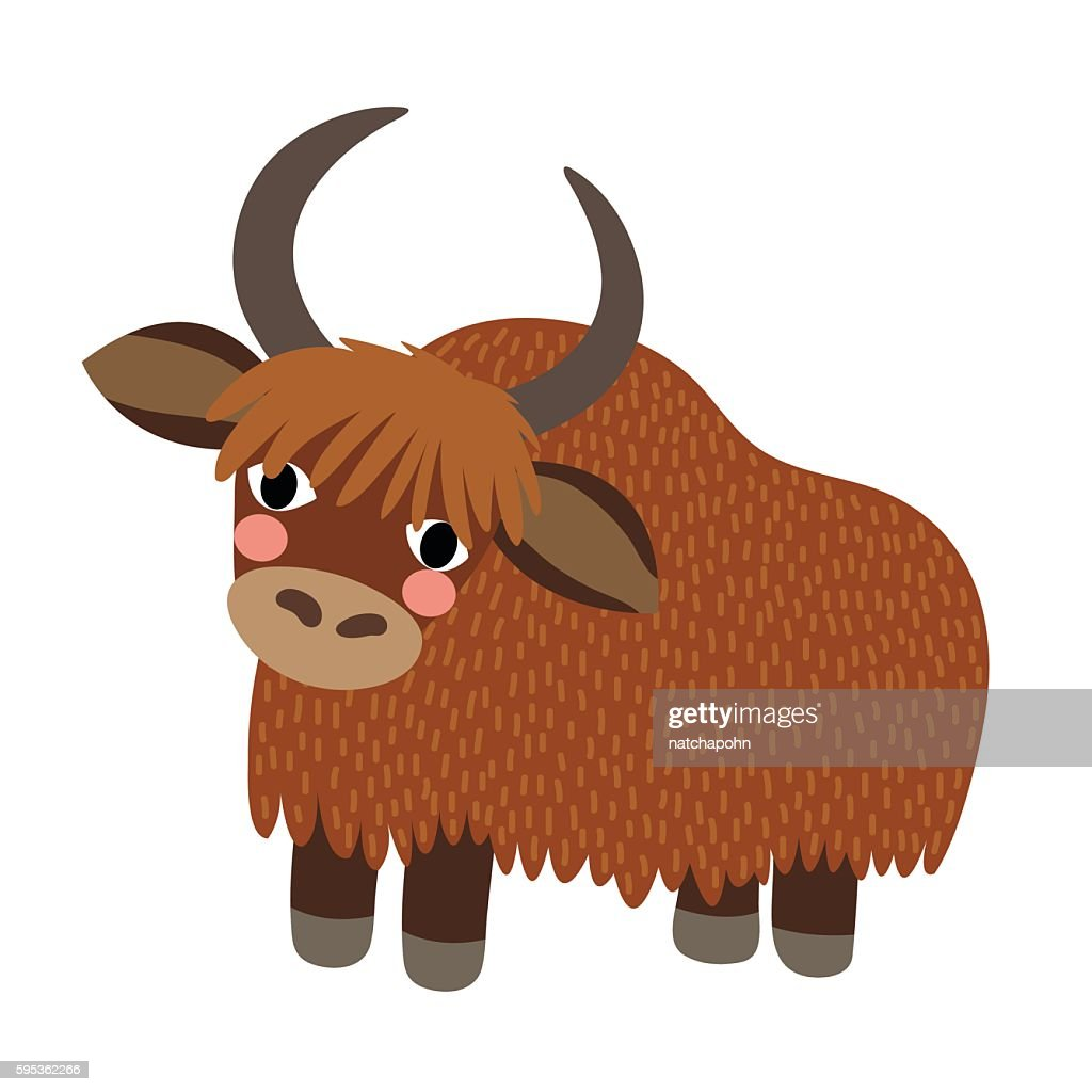 Yak animal cartoon character vector illustration.