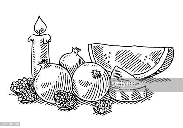 Yalda Night Decoration Pomegranate Melon Drawing