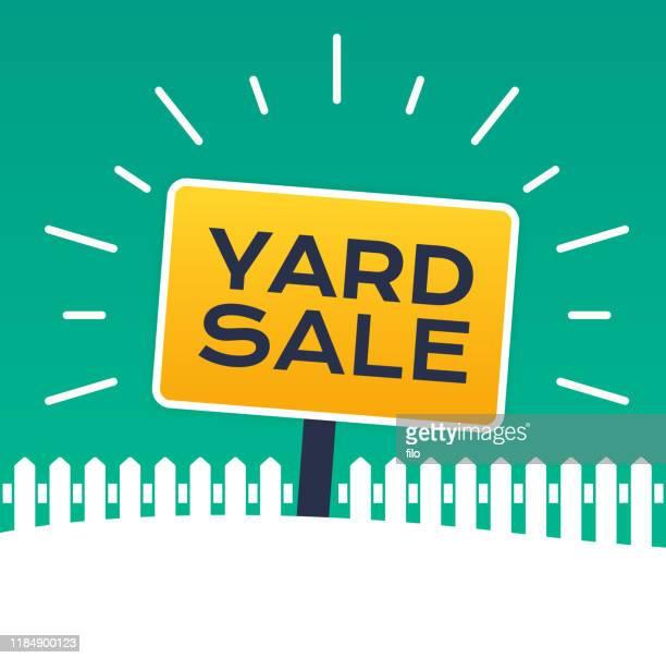 ilustraciones, imágenes clip art, dibujos animados e iconos de stock de cartel de venta de patio - venta de garaje