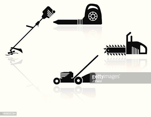 yard tool icon set - weed wacker stock illustrations, clip art, cartoons, & icons