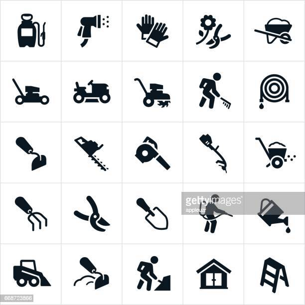 yard tools and equipment icons - leaf blower stock illustrations