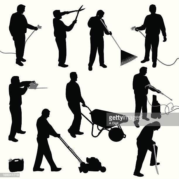 yard work vector silhouette - gardening stock illustrations