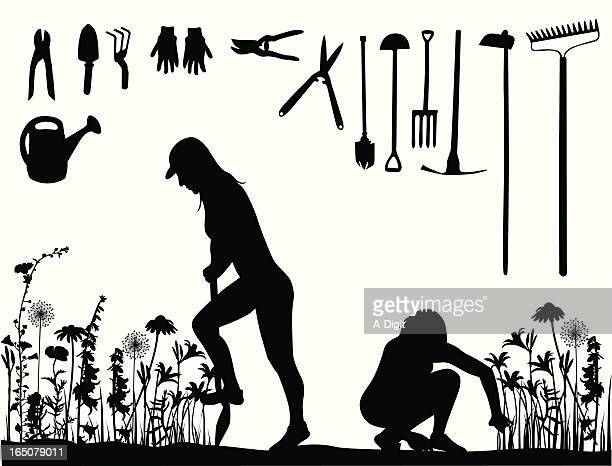 Yard Work Vector Silhouette