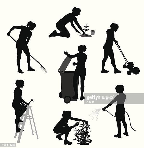 yardwork vector silhouette - landscaper stock illustrations, clip art, cartoons, & icons
