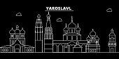 Yaroslavl silhouette skyline. Russia - Yaroslavl vector city, russian linear architecture, buildings. Yaroslavl travel illustration, outline landmarks. Russia flat icon, russian line banner