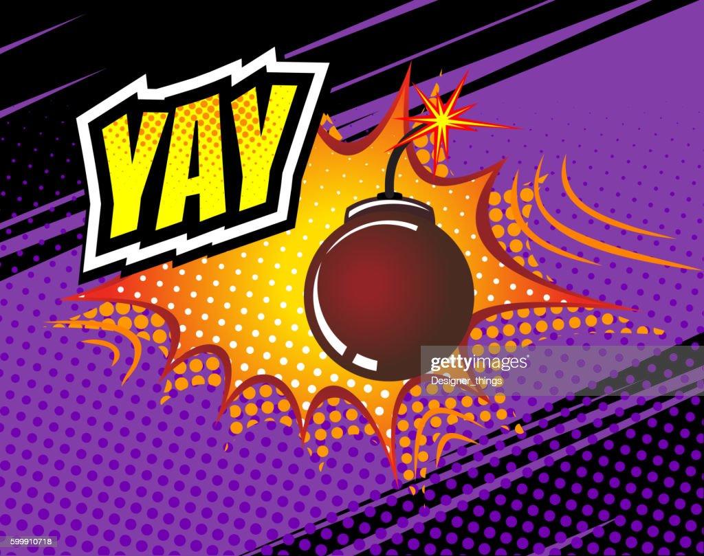 Yay. Vector Retro Comic Speech Bubble, Cartoon Comics Template. Mock