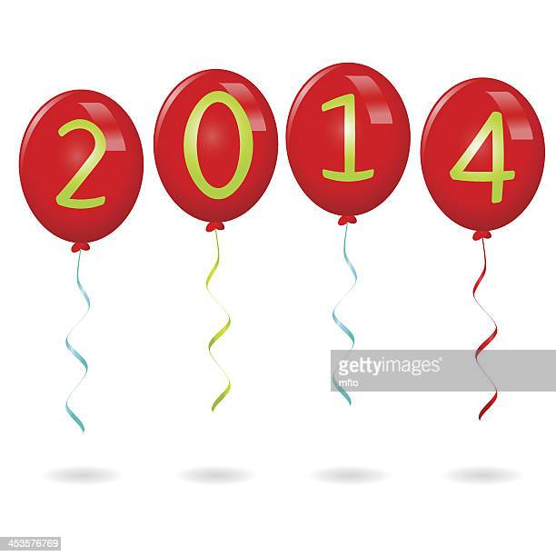 year 2014 balloons - 0 1 months stock illustrations