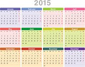 Year 2015 annual calendar (Monday first, English)