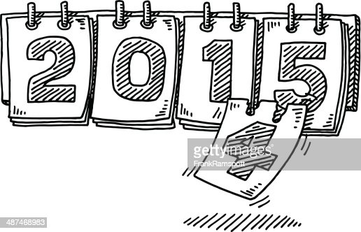 Year 2015 Calendar Change Drawing High-Res Vector Graphic