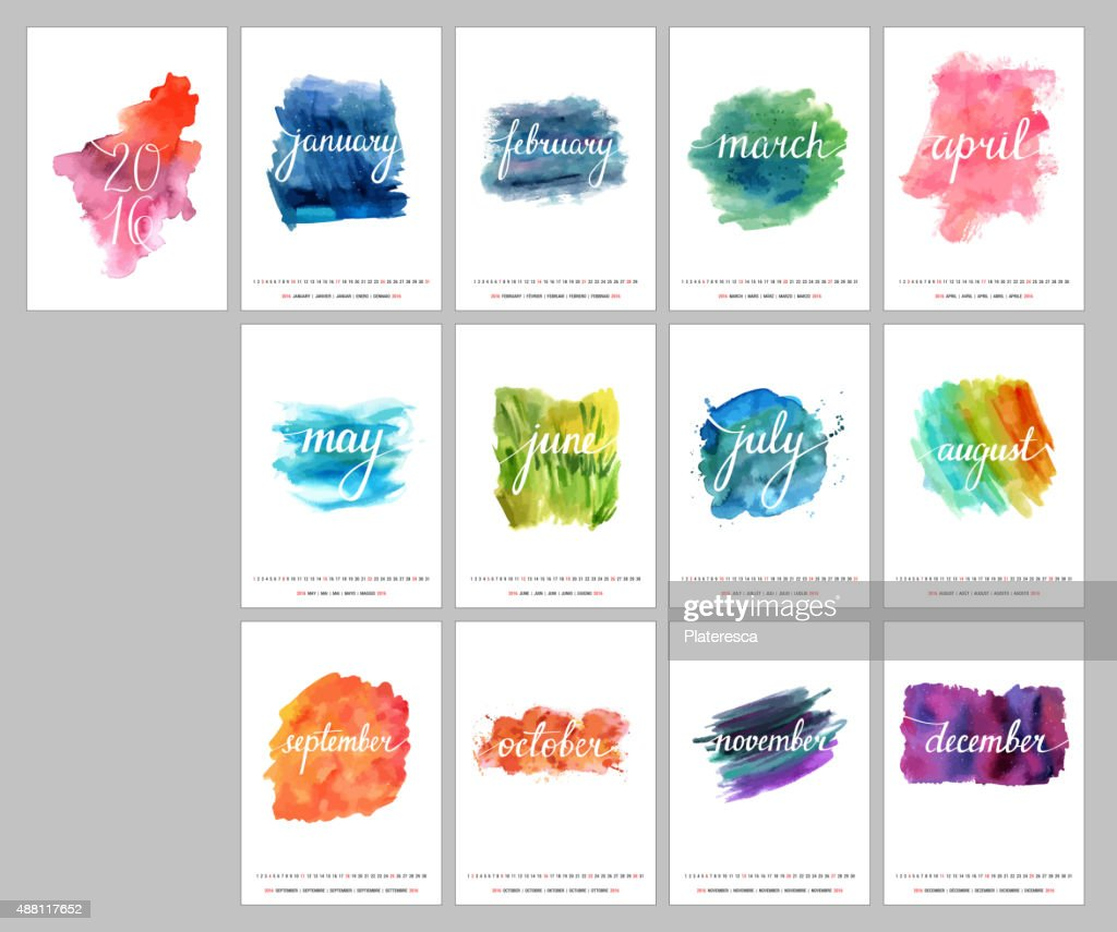 Year 2016 vector wall calendar with watercolor textures