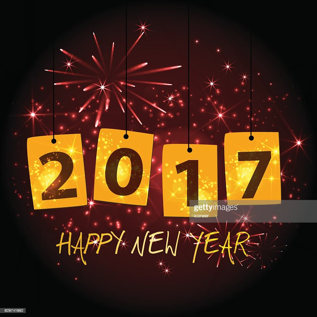 Year 2017 Haging Signs For New Years Eve With Fireworks Vector Art ...