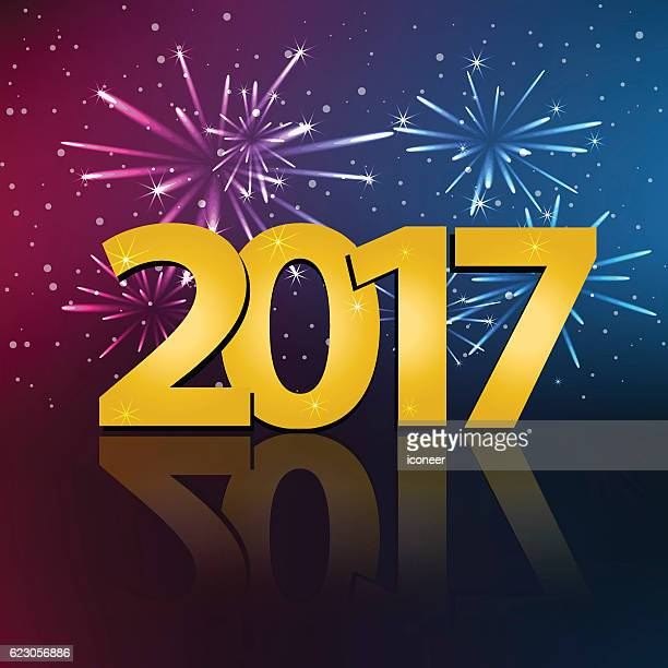 year 2017 on multicolored fireworks background for new years eve - 2017 stock illustrations