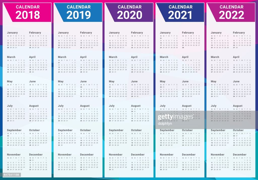 Year 2018 2019 2020 2021 2022 Calendar Vector High-Res ...