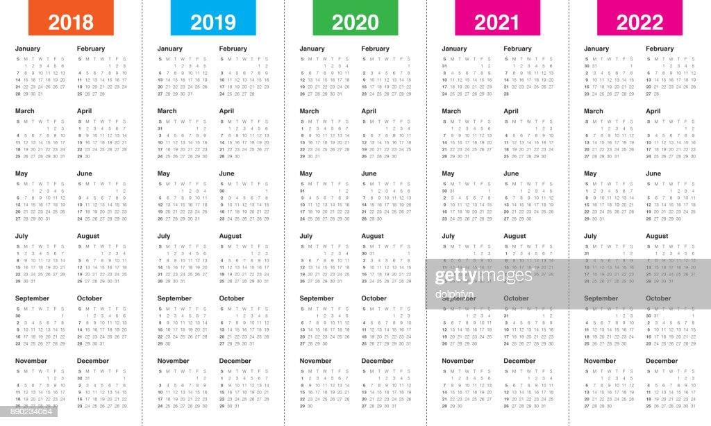 Year 2018 2019 2020 2021 2022 Calendar Vector stock