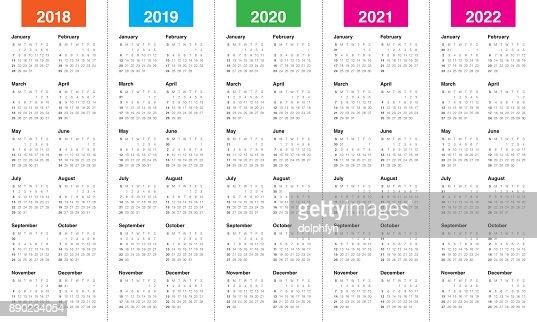 Year 2018 2019 2020 2021 2022 Calendar Vector stock illustration