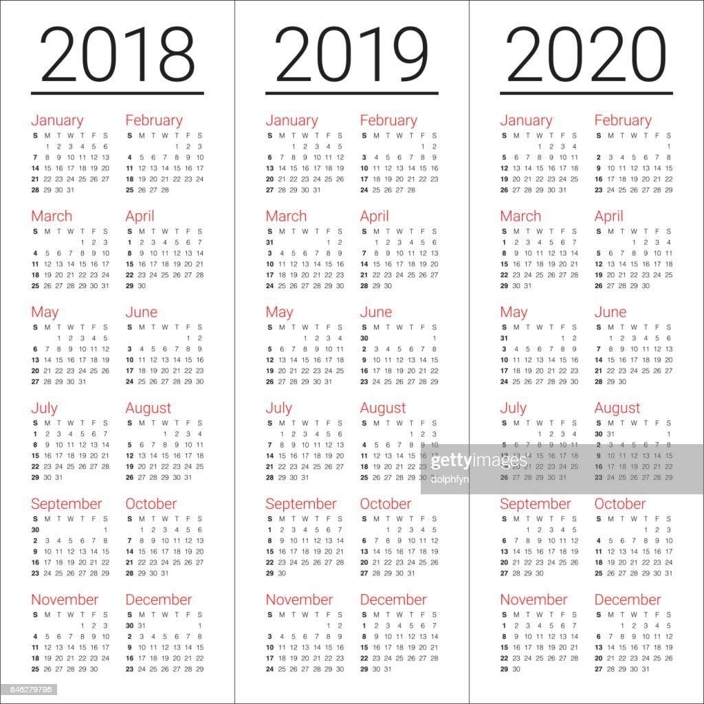 year 2018 2019 2020 calendar vector vector art getty images. Black Bedroom Furniture Sets. Home Design Ideas
