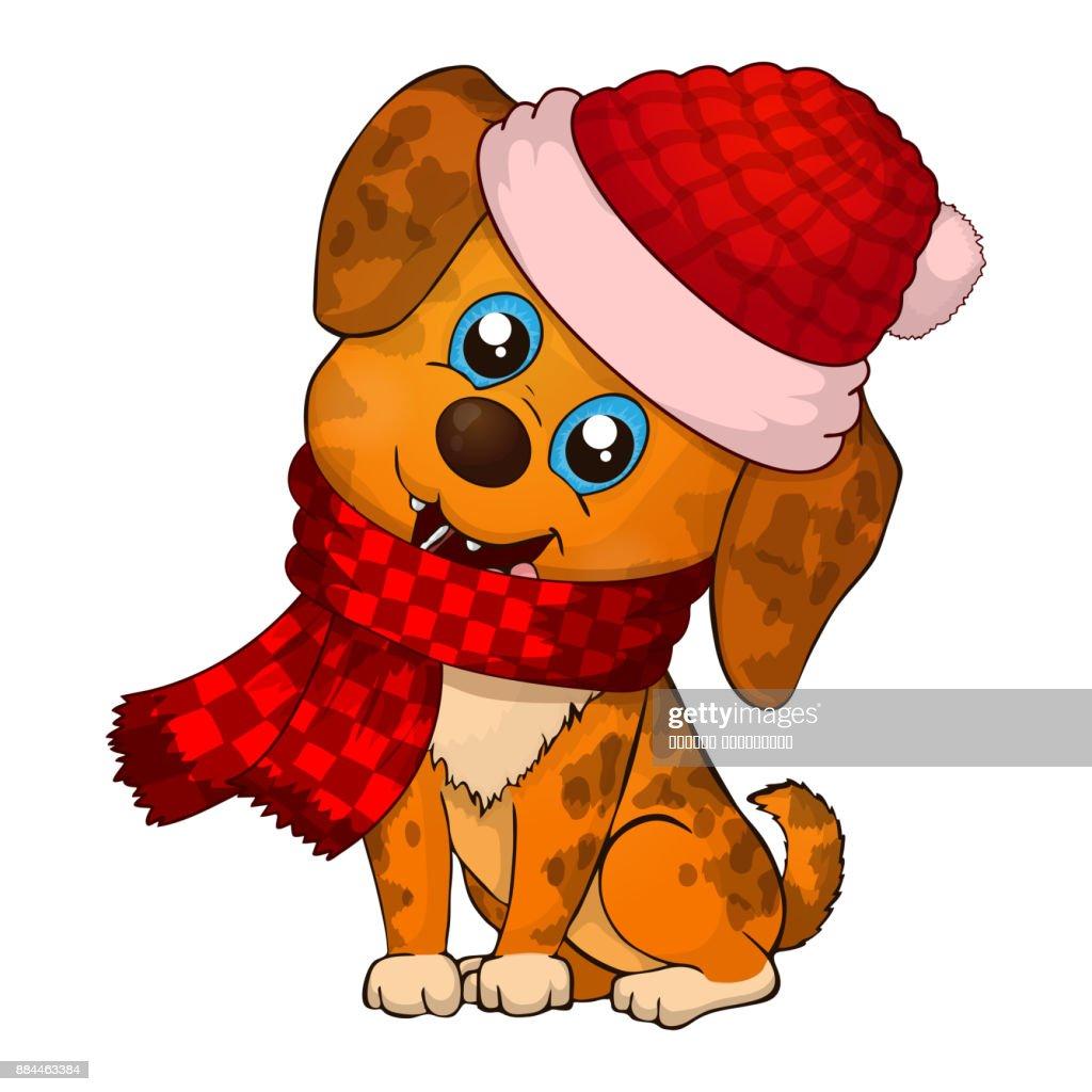 Neue Jahr 2018 Doggy Happy Dog Cartoon Weihnachten Hund Mit Rotem ...