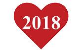 Year 2018 heart shaped