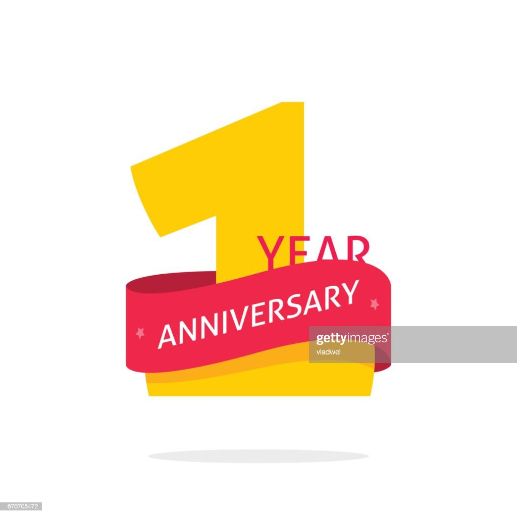 1 year anniversary, 1st anniversary icon label, one year birthday symbol isolated