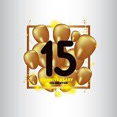 15 Year Anniversary Black Gold Balloon Vector Template Design Illustration