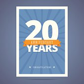 20 year anniversary card, poster template.