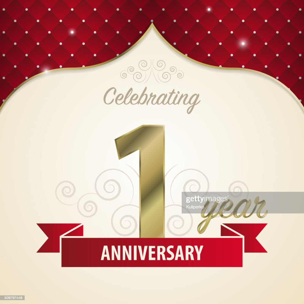 1 year anniversary celebration golden style. Vector