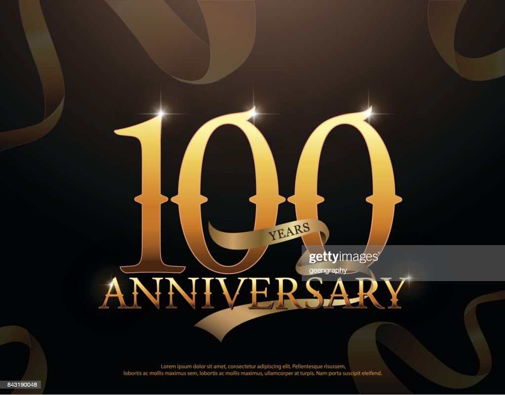 100 年周年記念ロゴ テンプレート黒い背景にリボンとロゴ ベクトルアート