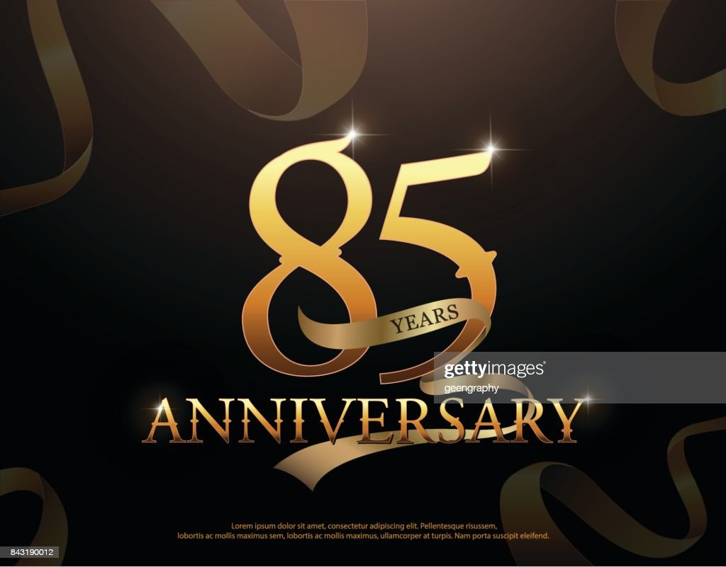 85 year anniversary celebration logotype template. 85th logo with ribbons on black background