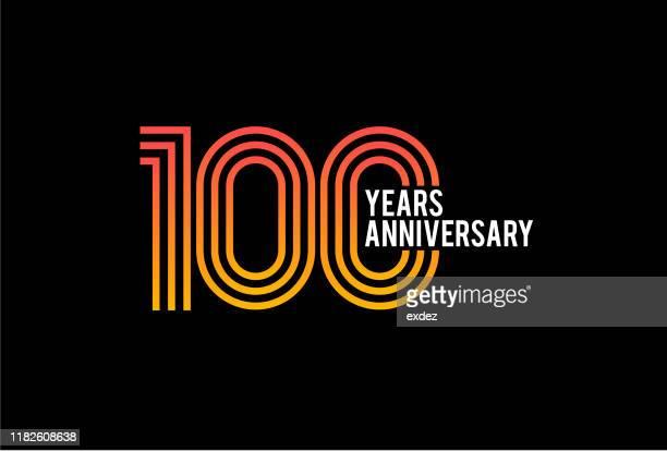 100 year anniversary design - 100th anniversary stock illustrations
