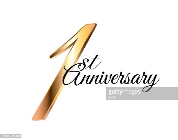 1周年記念黄金 - 1周年点のイラスト素材/クリップアート素材/マンガ素材/アイコン素材