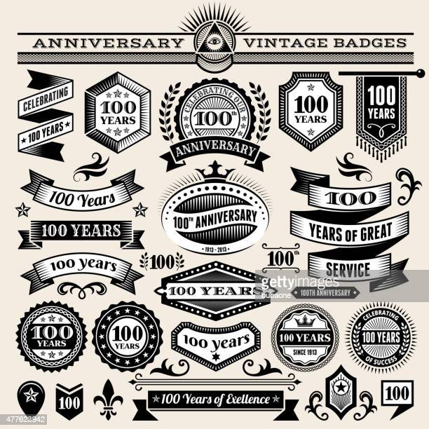 100 year anniversary hand-drawn royalty free vector background on paper - anniversary stock illustrations, clip art, cartoons, & icons