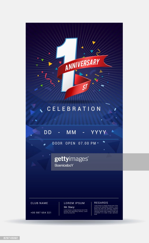 1 year anniversary invitation card - shiny gold celebration template design ,vector illustration