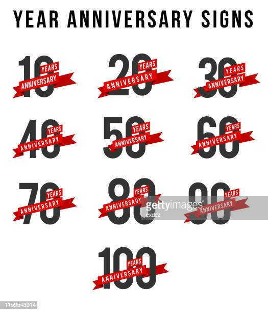 year anniversary set in vector - 40th anniversary stock illustrations, clip art, cartoons, & icons