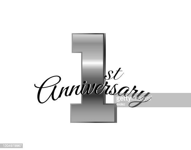1 year anniversary silver - one year anniversary stock illustrations