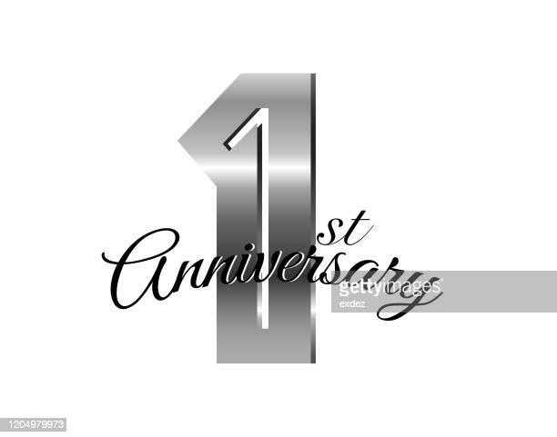1周年記念シルバー - 1周年点のイラスト素材/クリップアート素材/マンガ素材/アイコン素材