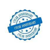 1 year anniversary stamp illustration