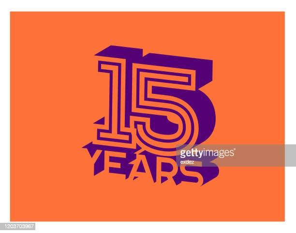 15周年記念 - 結婚記念日のカード点のイラスト素材/クリップアート素材/マンガ素材/アイコン素材