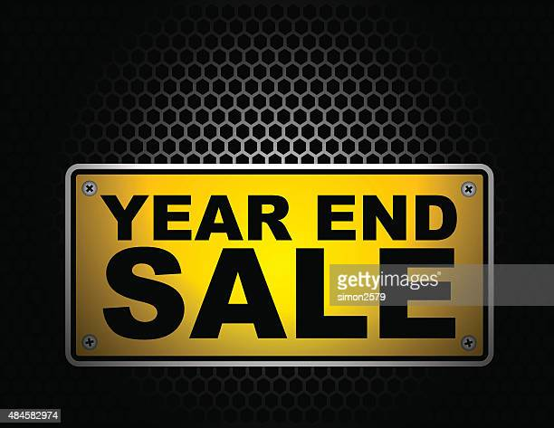 year end sale signboard - glühend stock illustrations