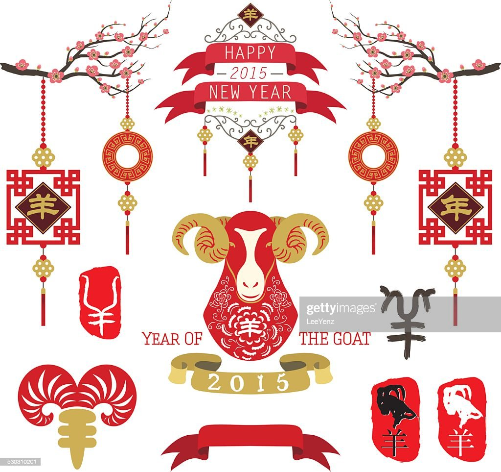 Year go the Goat Design Elements- illustration