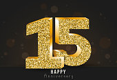 15 - year happy anniversary banner. 15th anniversary gold logo on dark background.