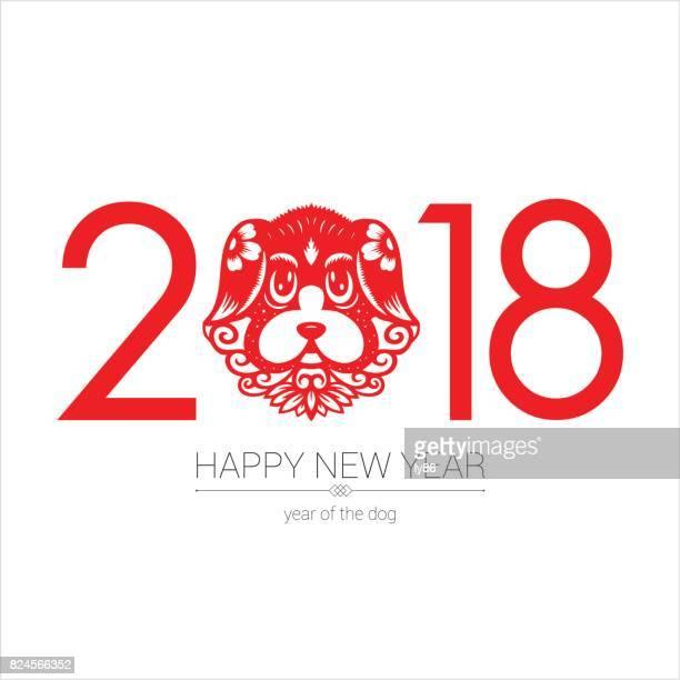year of the dog, 2018 - chinese zodiac sign stock illustrations, clip art, cartoons, & icons