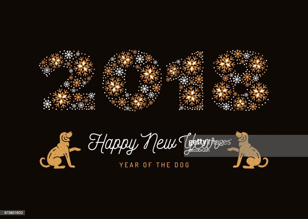 Year of The Dog, Chinese Zodiac Dog, Number 2018 made of snowflakes, Golden Dogs. Christmas card and New Year 2018 poster. Vector illustration