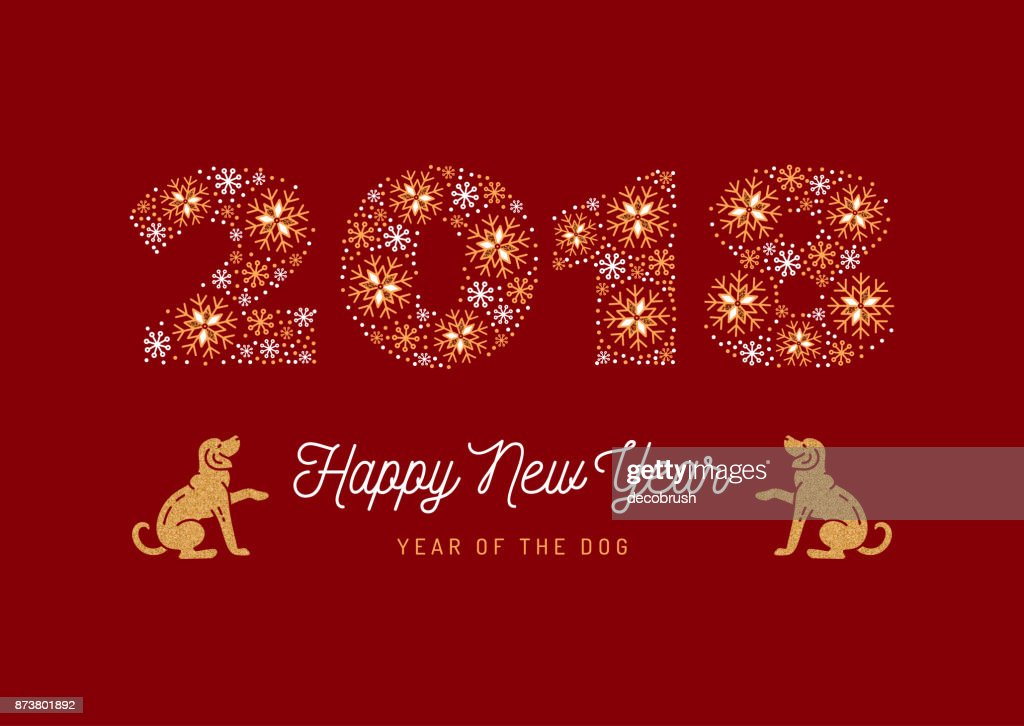 Year of The Dog, Chinese Zodiac Dog, Number 2018 made of snowflakes, Golden Dogs on a red background. Minimal design, corporate business style greeting card. Vector illustration