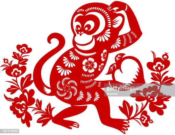 year of the monkey papercut art - chinese zodiac sign stock illustrations, clip art, cartoons, & icons