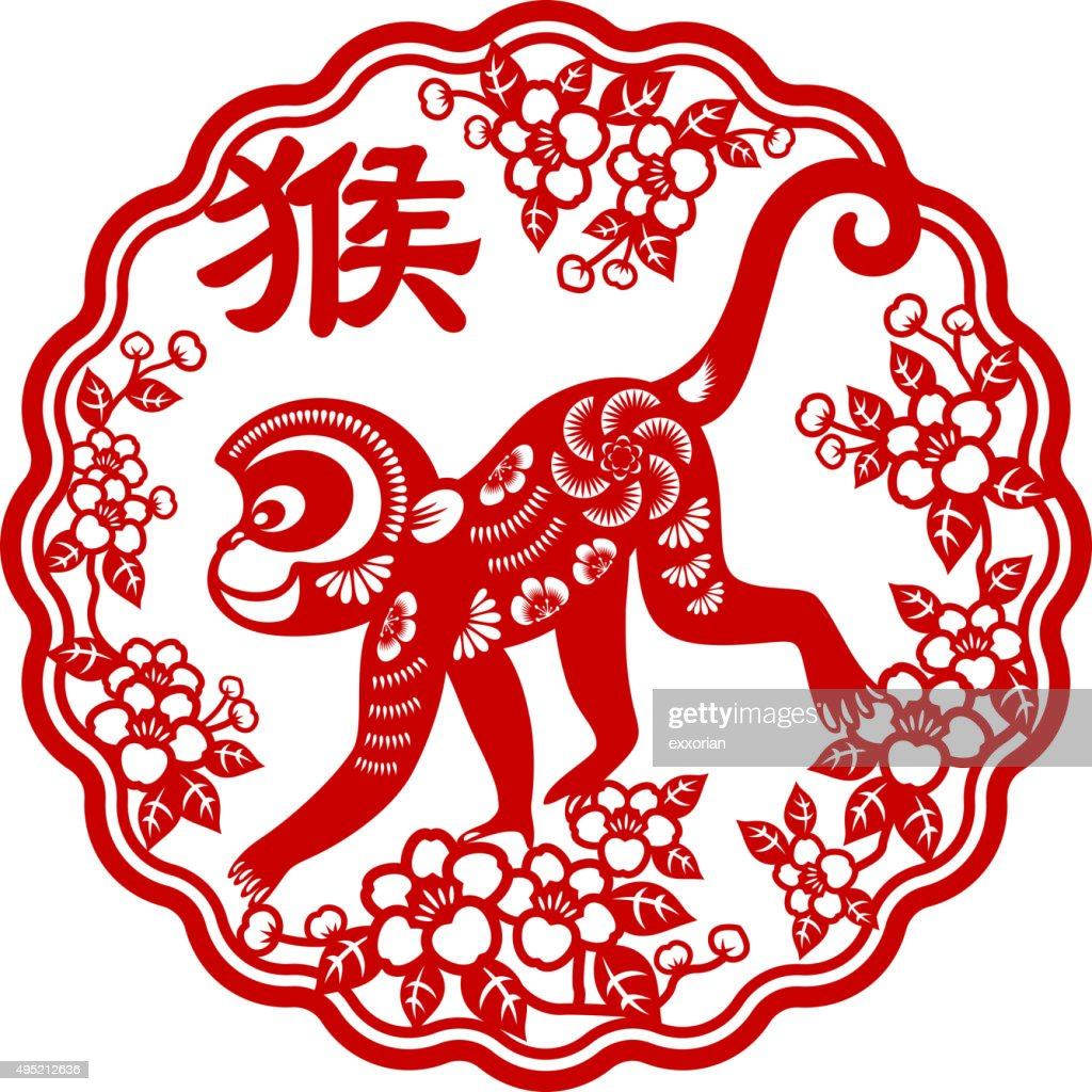 year of the monkey papercut frame art vector art - Monkey Picture Frame