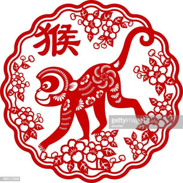 Year of the monkey papercut frame art