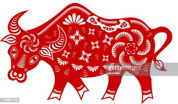 year of the ox paper-cut art - chinese zodiac sign stock illustrations, clip art, cartoons, & icons