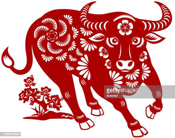 year of the ox papercut - year of the ox stock illustrations